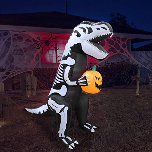 6 Foot Tall Halloween Inflatable Skeleton Dinosaur Tyrannosaurus T-Rex with Pumpkin Lights Lighted Blowup Party Decoration for Outdoor Indoor Home Garden Family Prop Yard