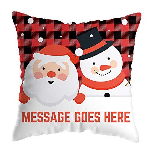 Funda de almohada para sofá de Navidad, funda de almohada para decoración del hogar, funda de cojín estándar con estampado de dibujos animados (G, talla única)