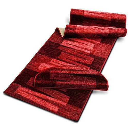 Stufenmatte mit Pinselstrich Muster | Rot | Qualitätsprodukt aus Deutschland | GUT Siegel | kombinierbar mit Läufer | 65x23,5 cm | halbrund | einzelne Matte