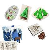 5 Stücke Weihnachten Silikonform, Für Fondant Praline Gum Paste Polymer Clay Seifenharz, Küche Backen Zuckerfertigkeit Kuchen, Cupcake Dekorieren Tools