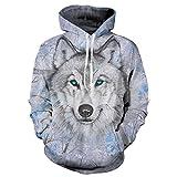 Wolf Hoodies 3D Print Sudadera con Capucha de Hombre Lobo Animal Hip Hop Sudadera con Bolsillos Grandes de Unisex 1 XXL