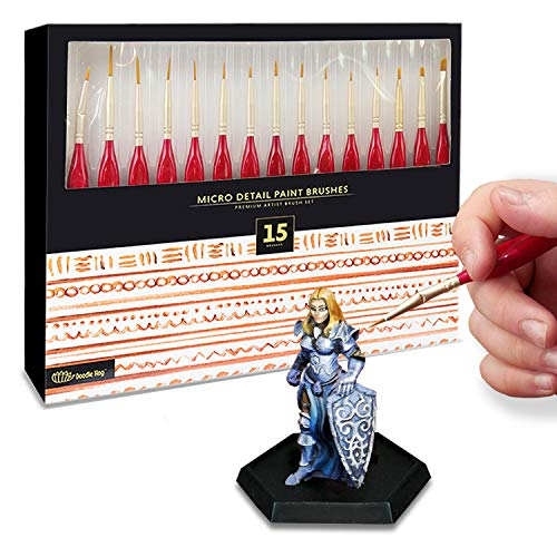 15pc Miniatures Paint Brush Set - Mini Painting Art Brushes. Perfect for DnD, Warhammer, Scale Model Painting, Nail Art, Face Painting, and More! Can be Used with Watercolor, Acrylic, Oil Paint.