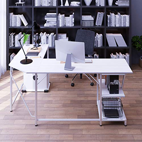 NOXU White L Shaped Desk with Shelves - Large Modern 66''x47''x29.5'' (LxWxH) - Reversible L Shaped Gaming Desk for Home or Office - Safe and Sturdy Computer Desk with Storage - Corner Desk Table