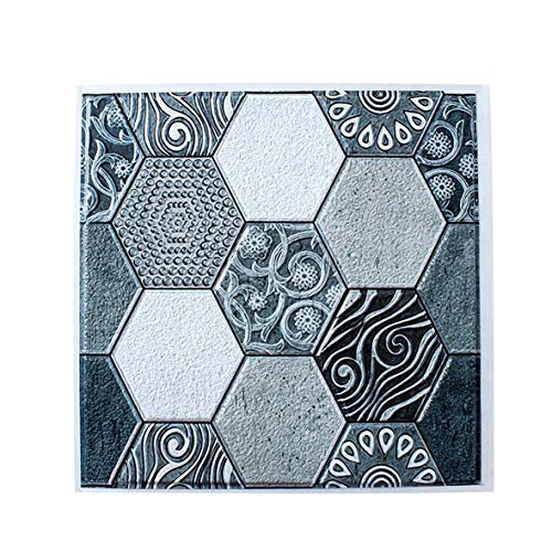 Etiqueta de la pared de Pvc extraíble Etiqueta autoadhesiva para azulejos, Pvc Vintage 3D Patrón Papel pintado autoadhesivo impermeable Hogar Cocina Baño Diy Etiqueta de la pared Etiqueta de la pared