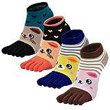 Damen Zehensocken Five Finger Socken, Damen Socken aus Baumwolle Witzige Socken Karikatur Tier Socken Niedliche Tiere Socken Bunt Muster Kurze Socken, 4 Paare