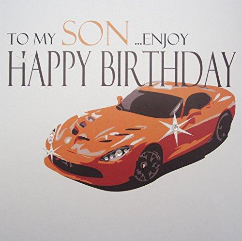 witte katoenen kaarten Aan Mijn Zoon. Geniet van gelukkige, handgemaakte verjaardagskaart, code XN62S, sportwagen