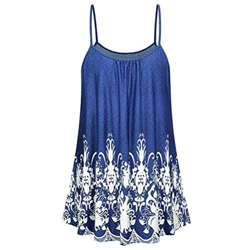 Toamen Gilet Femmes Chemise d'impression Gilet sans manches décontracté impression haut Rétro Été (S, Bleu)