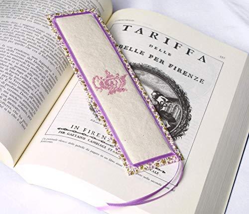 Marcadores libros marcapaginas. Hecho a mano. Rosa. Bordado de punto de cruz. Marcadores de libros. Tetera. Marcapaginas perfumado. Lavanda. Handmade Bookmarks. Made in Italy