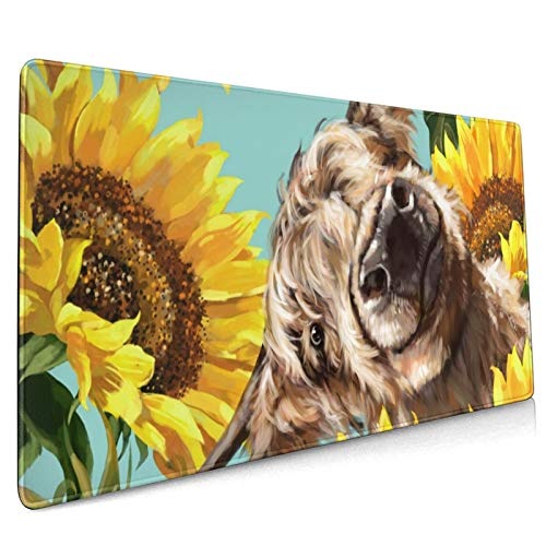 Extended Gaming Mouse Pad Cow with Sunflowers in Blue Large Non-Slip Rubber Base Mouse Mat Keyboard Mousepad Desk Pad for Game Players,Office,Home (35.4x15.7In)