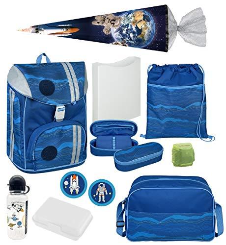Familando Schulranzen-Set 18tlg. Federmappe, Sporttasche, Schultüte 85cm Scooli mit Regenschutz FlexMax