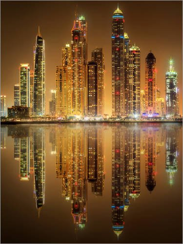 Posterlounge Acrylglasbild 30 x 40 cm: Beleuchtung der Dubai Marina Bay von Editors Choice - Wandbild, Acryl Glasbild, Druck auf Acryl Glas Bild