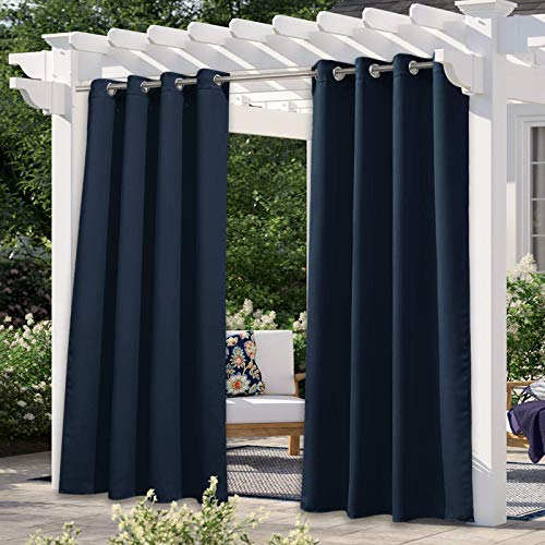 NICETOWN Navy Blue Outdoor Curtain for Patio Waterproof, Silver Stainless Steel Grommet Room Darkening Thermal Insulated Vertical Drapes for Front Porch & Canvas, 1 Panel, W52 x L84