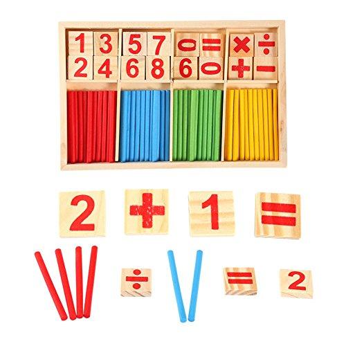 Biitfuu Palos de conteo de Juguetes de Madera, Material didáctico de matemáticas Material de Madera Natural Juguetes educativos Tarjetas de números Bloques de construcción para la enseñanza de