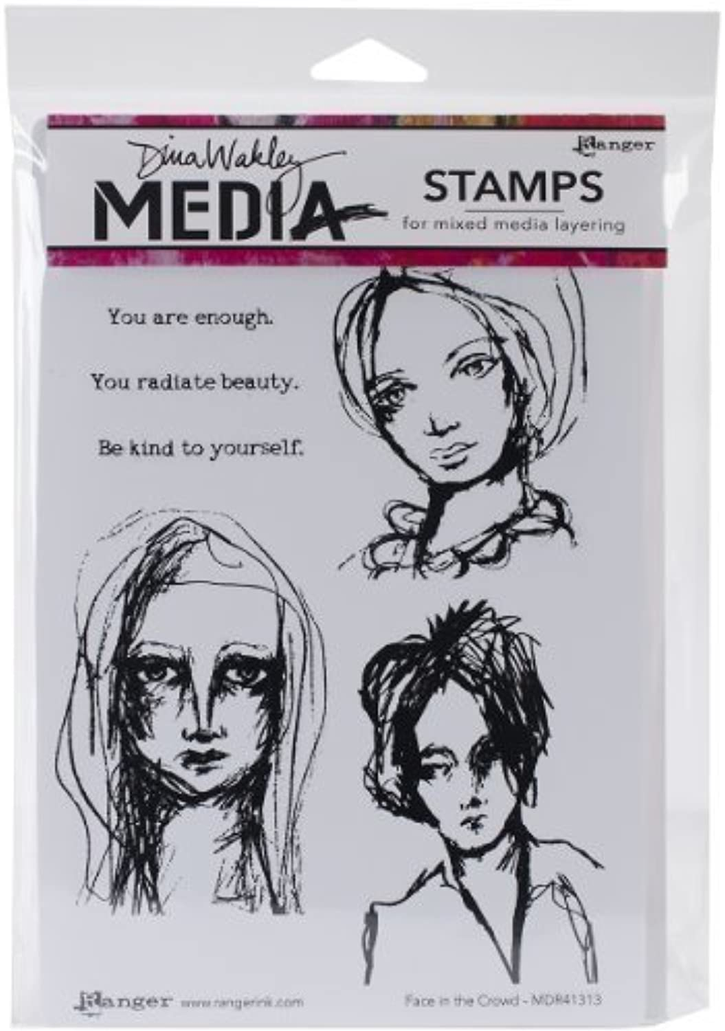 Dina Wakley Media Rubber Face in the Crowd Cling Stamps, Multi-Colour by Ranger