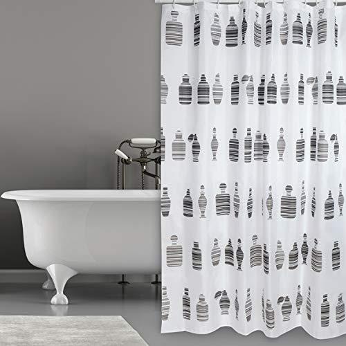 Cotexsa by MSV Premium antischimmel textiel douchegordijn - antibacterieel, wasbaar, 100% waterdicht, met 12 douchegordijnringen - polyester,