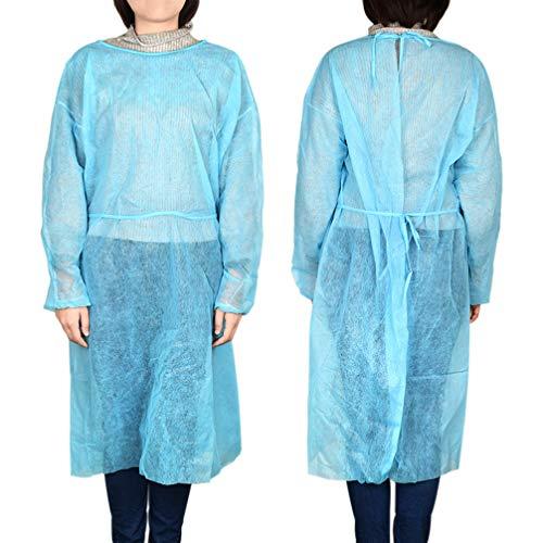 Exceart 10 Piezas Batas Desechables para Adultos Batas Protectoras con Mangas Largas Cuello Y Cintura Corbatas Batas de Examen No Estériles Talla XXL