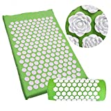 ZXCV Yoga Spiky Cushion Lotus Acupressure Mat Pillow Set Back Neck Foot Massager para la Cama Pilates Pain Stress Relief 67 * 42CM,A
