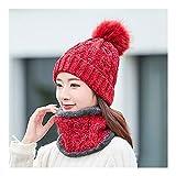 MEIEI Mujeres Punto Hat Scarf, Invierno, además de Terciopelo Caliente Grueso de Chenilla Gorro de Lana Babero de Dos Piezas de Bicicletas Wool Cap Fría (Color : Red)