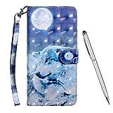 TOUCASA Hülle für Galaxy J4 Plus,Handyhülle für Galaxy J4 Plus,Brieftasche PU Leder Flip [3D] Hülle Magnetverschluss Handytasche Klapphülle für Samsung Galaxy J4 Plus,Mond Wolf