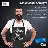 MoonWorks® Grill-Schürze für Männer mit Spruch Das Schwarze kann Man abkratzen Spruch lustig Grillen Baumwoll-Schürze Küchenschürze schwarz Unisize - 4
