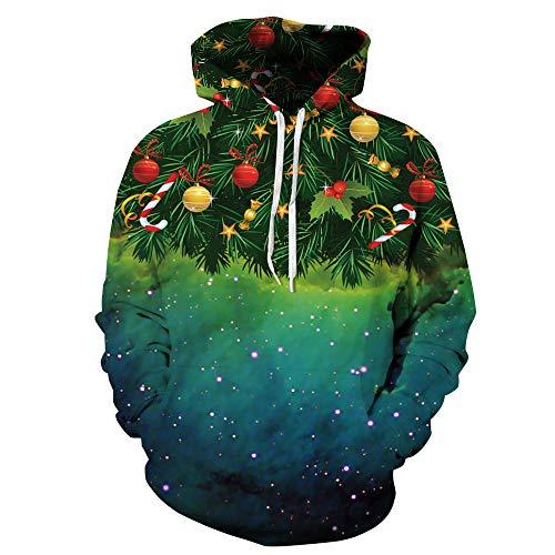 KINDOYO Hommes Chaud Hoodie - Unisexe Hiver Sweats à Capuche 3D Imprimé Manche Longue Pull Sweat-Shirts, Vert-Noël, EU L=Tag XL