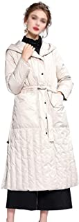 ZYDP Womens Winter Down Jacket Single-Breasted Coat with Rope Tie On Waist (Color : Beige, Size : XL)