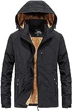 haoricu Men's Warm Zip Pocket Cotton Jacket with Hooded Classic Zipper up Pea Coat Fleece Lining Plus Size(,)