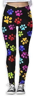 XMKWI Color Dog Paw Prints Womens Power Flex Stretch Yoga Pants Workout Tights Leggings Trouser