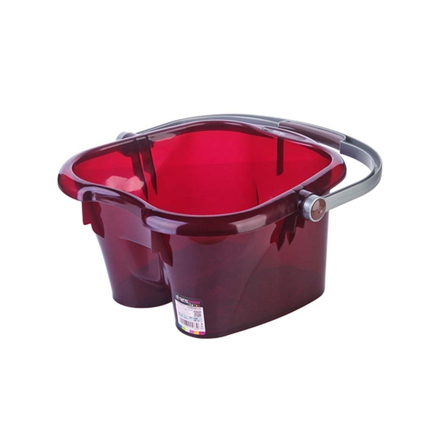 Kabi 北欧スタイルマッサージ浴槽ふたで洗うプラスチック足風呂樽洗浄バケツ健康ギフト XM1209-9-3-10 (Color : Red)