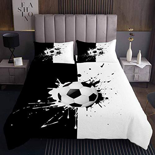 Copriletto da calcio con motivo a palla da calcio, per bambini, ragazzi, ragazze, sport, set di trapunta per letto nero, bianco, collezione 2 pezzi per letto singolo