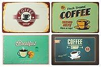 set di 4 tovagliette da colazione: look retrò caffè, coffee shop, breakfast, insegna cafè – tovagliette in plastica lavabile 43 x 28 cm
