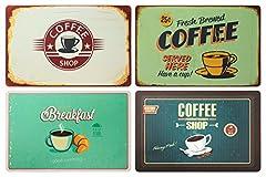 Idea Regalo - Set di 4 tovagliette da colazione: Look retrò caffè, coffee shop, breakfast, insegna cafè – tovagliette in plastica lavabile 43 x 28 cm