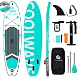"""COOLWAVE 10'6"""" Inflatable Stand Up Paddle Board with Camera Seat, Accessories Including Waterproof Phonebag, Backpack, Bottom Fin for Paddling, Paddle, Non-Slip Deck, Hand Pump, Leash (Green)"""