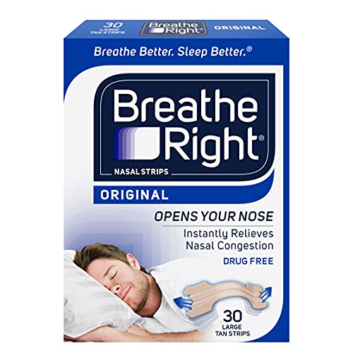Breathe Right Original Nose Strips to Reduce Snoring and Relieve Nose Congestion, Tan, 30 Count