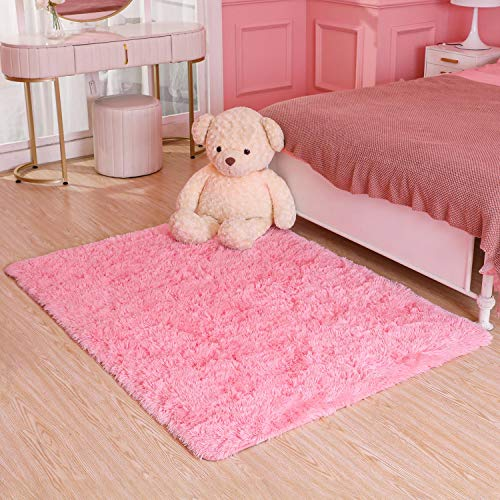 Ophanie Ultra Soft Fluffy Area Rugs for Living Room, Luxury Shag Rug Faux Fur Non-Slip Floor Carpet for Bedroom, Kids Room, Baby Room, Girls Room, and Nursery - Modern Home Decor, 4x5.3 Feet Pink