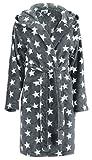 Brandsseller Albornoz para Mujer con Capucha Bata de baño para Ducha,Playa y Baño - Estrellas - Color: Gris/Blanco - tamaño: L/XL