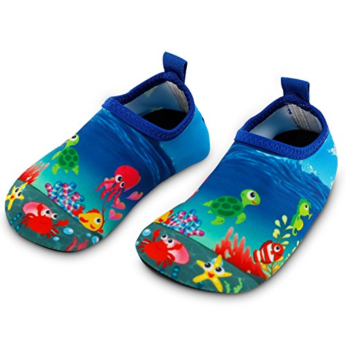 Toddler Kids Swim Water Shoes Quick Dry Non-Slip Water Skin Barefoot Sports Shoes Aqua Socks for Boys Girls Toddler, Seaworld, 6 Toddler