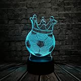 RQMQRL Fútbol Corona Imperial Trono 3D Led USB Lámpara Primer Premio Sporting Boy Regalo para Jugador De Fútbol Colorido Bombilla Luz
