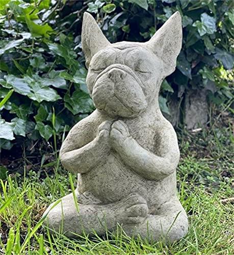 Meditating Sitting French,French Bulldog Statue,Garden Decor Zen Dog Figurine Pet Sculpture Garden Patio