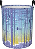 Rundes Wäschekorb, Motiv: Bäume und Stadtlandschaft, Aufbewahrungskorb, Organizer