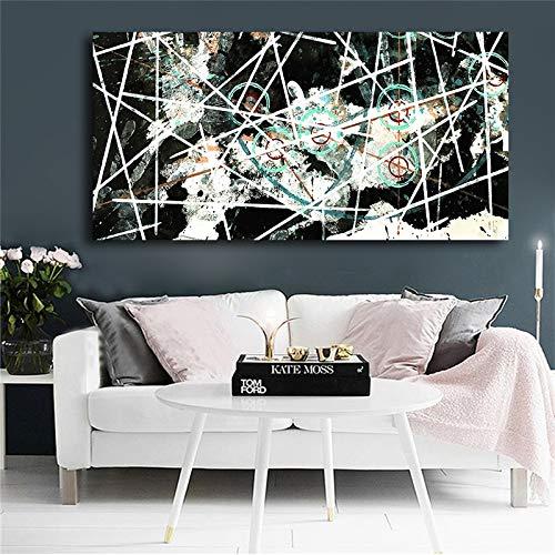Geiqianjiumai Leinwand Geometrische Skandinavische Schwarzweiss-Plakat- und Druckgrafik Wohnzimmerbild Abstraktes Ölgemälde Rahmenloses Gemälde 75x150cm