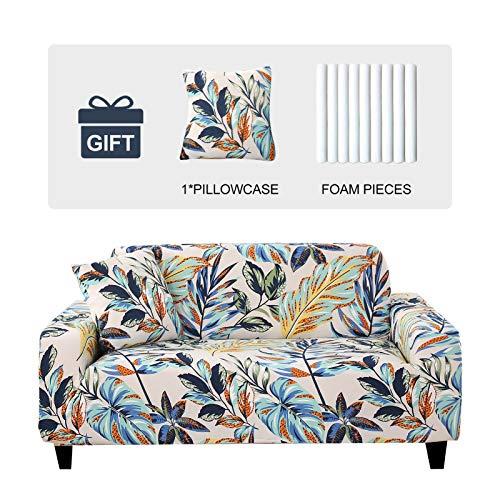 Joydream 1 Stück Stretch Sofabezug Anti-Rutsch Couch Schonbezüge Elastische Möbel Schoner für Sessel/Couch Weicher Stoff Sofabezug Couch Cover mit 1 Kissenbezug (groß, Regenwald-Blätter)