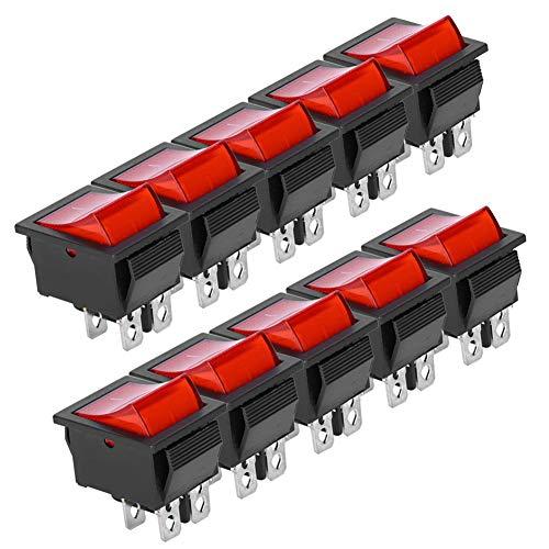 10pcs Walfront AC 16A 250V/20A 125V SPST On/Off Mini Interruptor Basculante De Barco Interruptor Basculante De 2 Posiciones On/Off 4 Pines KCD4 Para ElectrodoméSticos