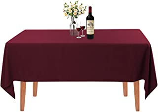 Waysle Rectangle Tablecloth - 60 x 126 Inch - Burgundy Rectangular Table Cloth for 8 Foot Table in Washable Polyester - Gr...