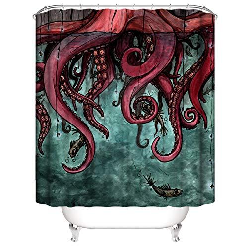 LLLTONG Duschvorhang wasserdichter Polyester Mehltau Dicker Polyester Duschvorhang 3D Digitaldruck Oktopus