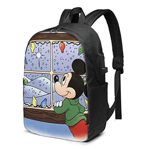 Mickey Mouse Mochila de viaje de negocios con cable de carga USB, interfaz de auriculares de gran capacidad para portátiles de 13 a 17 pulgadas