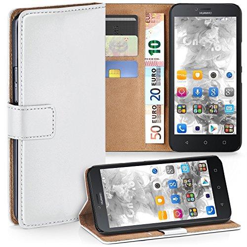 MoEx Premium Book-Case Handytasche kompatibel mit Huawei Y625 | Handyhülle mit Kartenfach und Ständer - 360 Grad Schutz Handy Tasche, Weiß