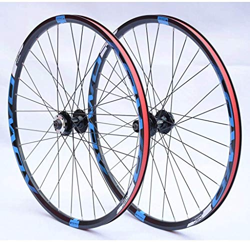 YZU MTB Wheels 26 27.5 29 pulgadas juego de ruedas de doble pared llantas de freno de disco 8-10s Cassette Hub 32H QR, Azul, 27.5'