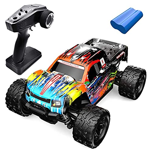 KTDT Vehículo de Control Remoto, 4WD RC Car 40 km/h High Speed Off-Road Monster Truck 1:18 Electric Racing Car 2.4Ghz RC Buggy Crawler Car Regalo de Juguete para niños/Adultos