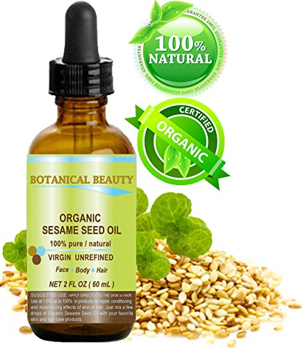 ORGANIC SESAME OIL, 100% Pure/Undiluted/Cold Pressed. 2oz -60 ml. For Face, Hair and Body.